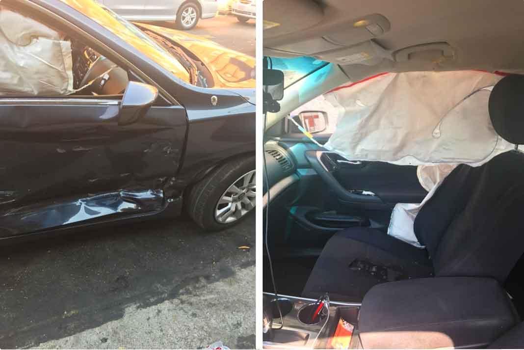Así quedó el auto con el que trabaja como chofer en Uber y en Lyft