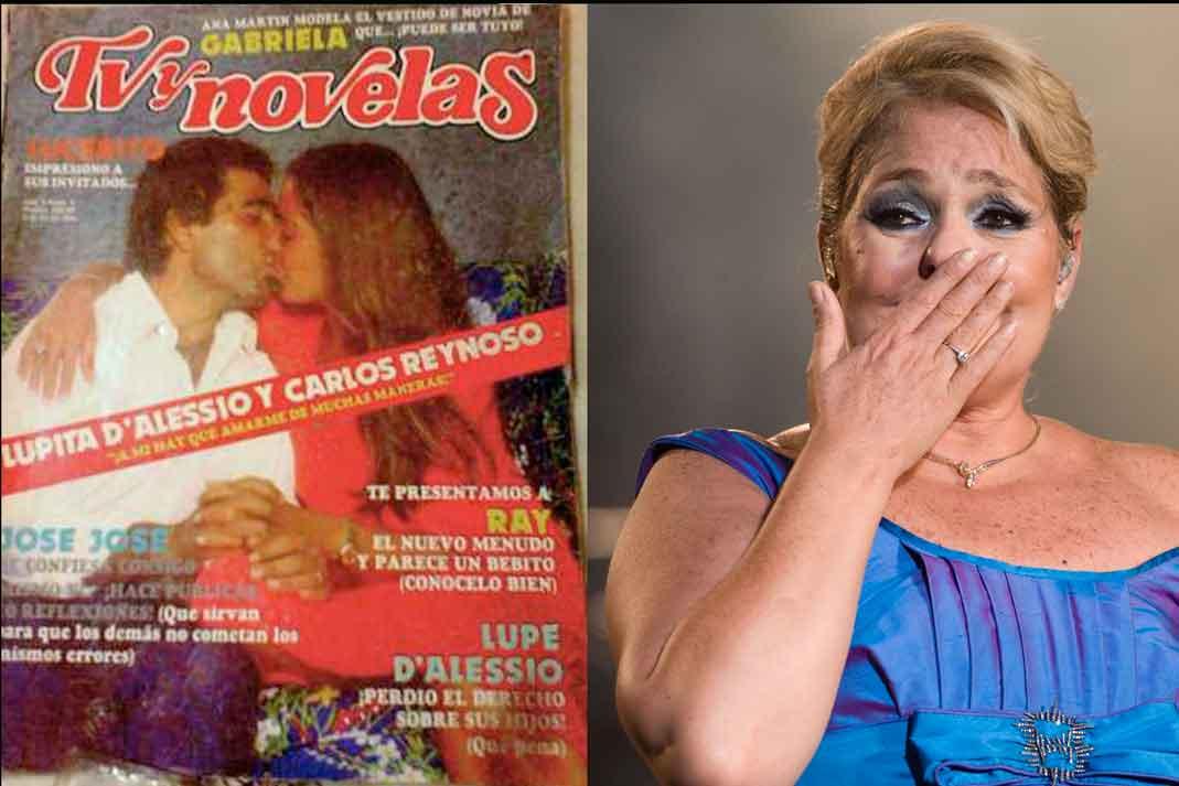 Lupita D'Alessio en uno de sus conciertos en México y la portada de una revista donde aparece con Carlos Reinoso.