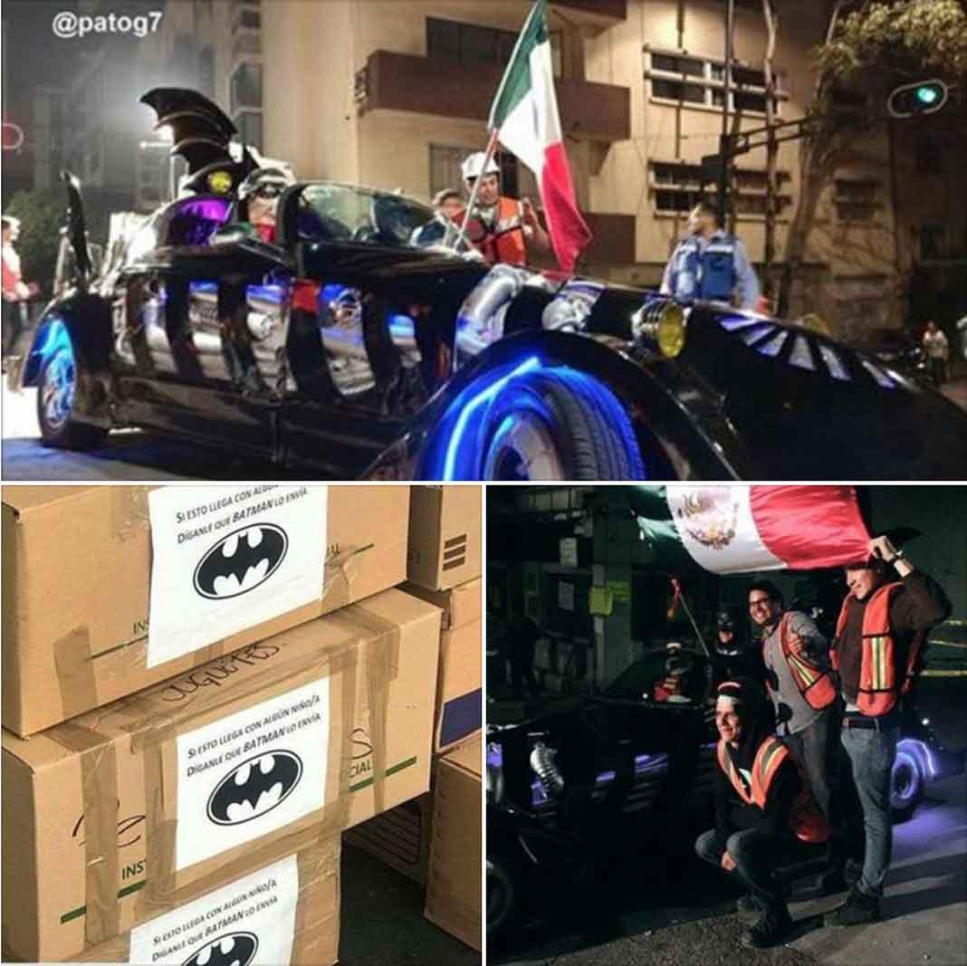 """Hasta """"Batman"""" llegó en su Batimóvil con cajas que decían """"Si esto llega con algún niño, díganle que Batman lo envía"""""""