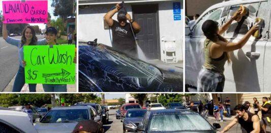 Durante dos días, en diferentes puntos de la ciudad, la familia Rivera se puso a lavar autos para recaudar fondos para los damnificados por el temblor en México