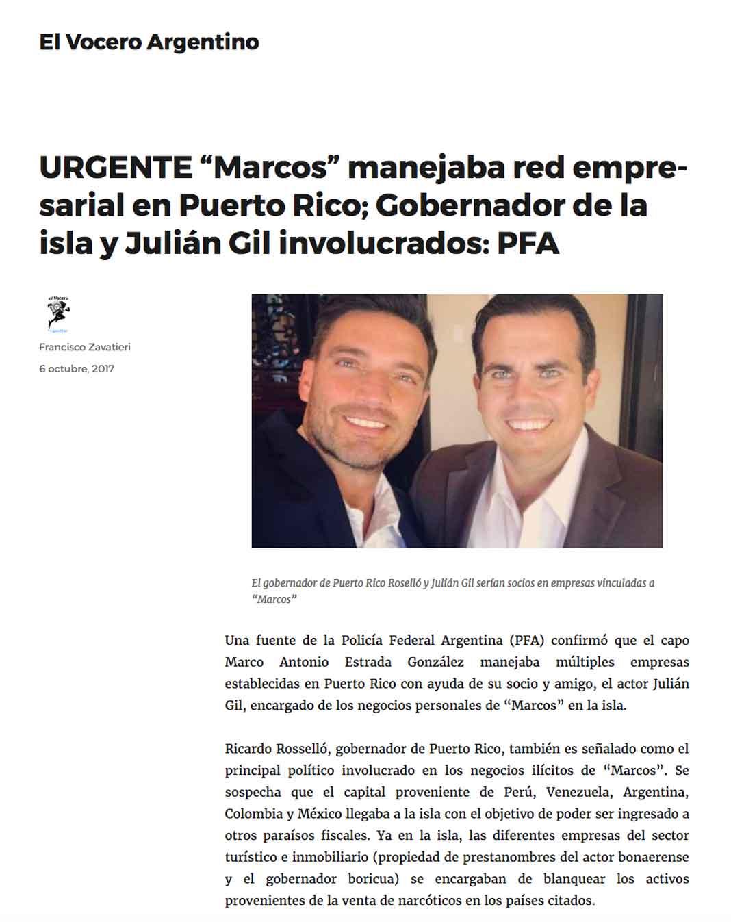 Un blog llamado El Vocero Argentino dice que el Departamento del Tesoro dice que un testigo protegido involucra a Julián