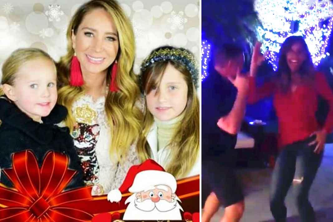Geraldine con sus hijas y Lili con su familia, así pasaron ambas esta Navidad