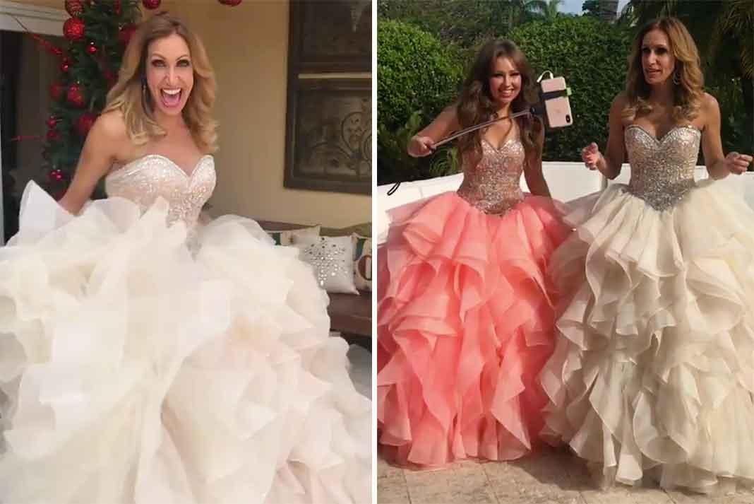 Lili y Thalía se divirtieron en grande vestidas de quinceañeras