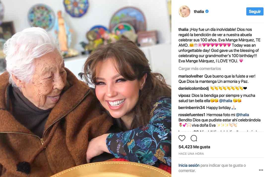 Thalía compartió esta imagen en su cuenta de Instagram