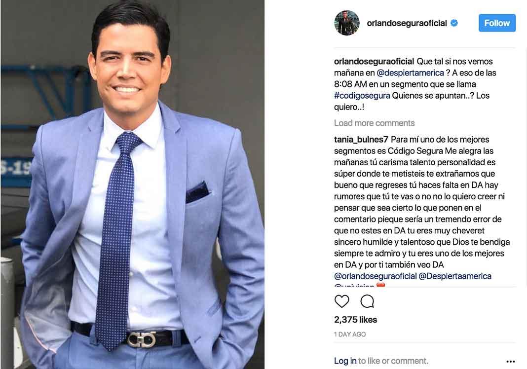 Este es el último mensaje que escribió Orlando Segura en sus redes, antes de su salida