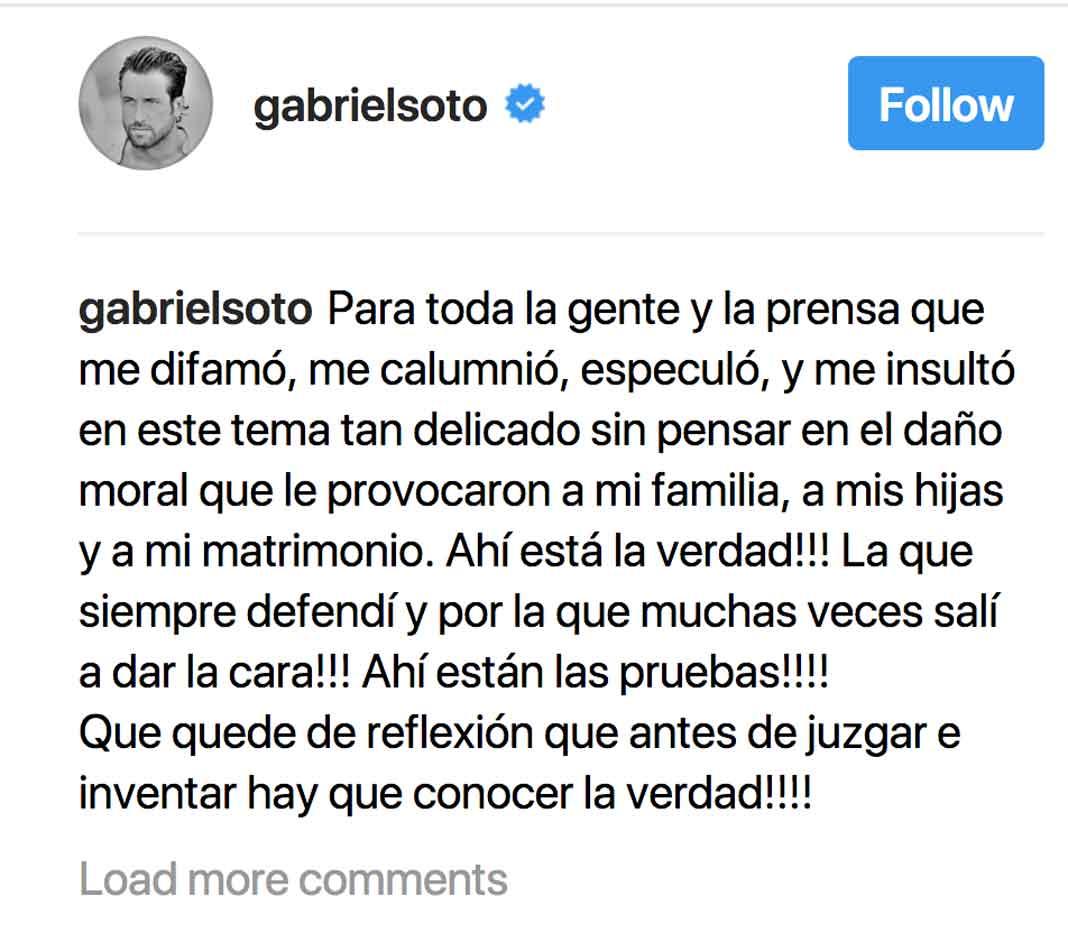 Gabriel recordó el daño que los chismes le hicieron a su matrimonio