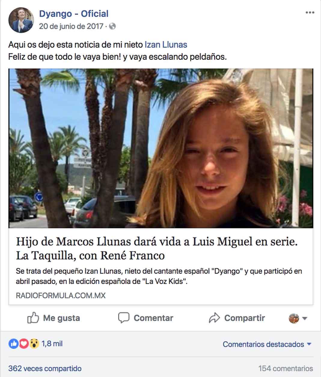 A mediados del año pasado Dyango compartió la noticia de que su nieto será Luis Miguel