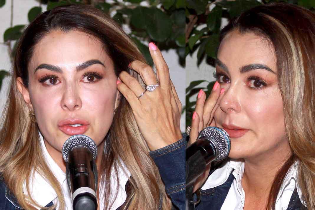 Ninel llorando en la rueda de prensa donde negó consumir cocaína