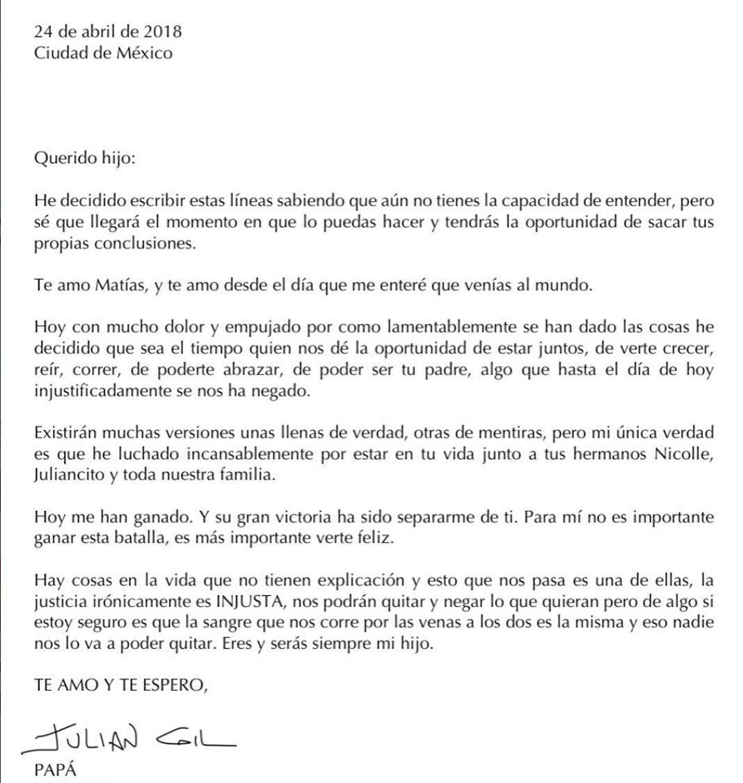 Esta es la polémica carta abierta que escribió Julián a su hijo Matías