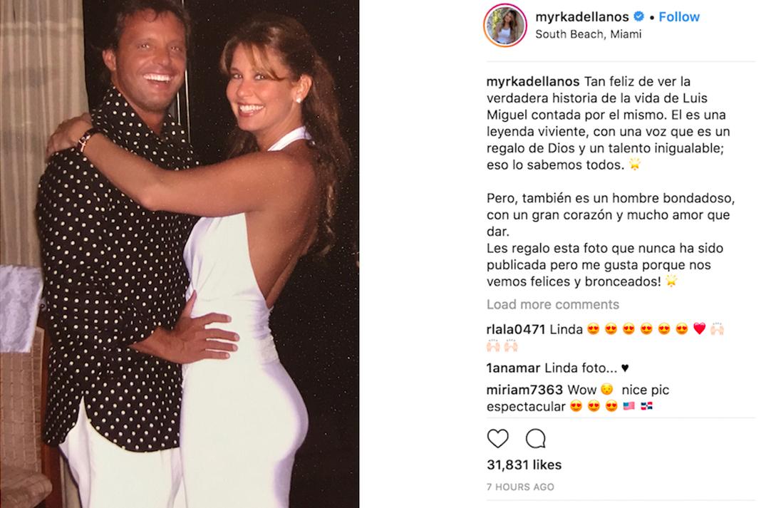 El post de Myrka Dellanos en Instagram hablando de Luis Miguel
