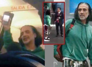 Momentos en que mostró a los pasajeros el video del reciente accidente aéreo y cuando lo bajaron