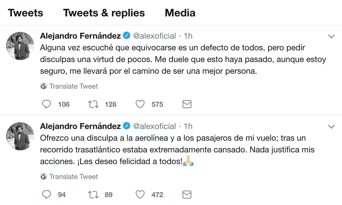 Las disculpas del Potrillo a la aerolínea y a los pasajeros a través de Twitter
