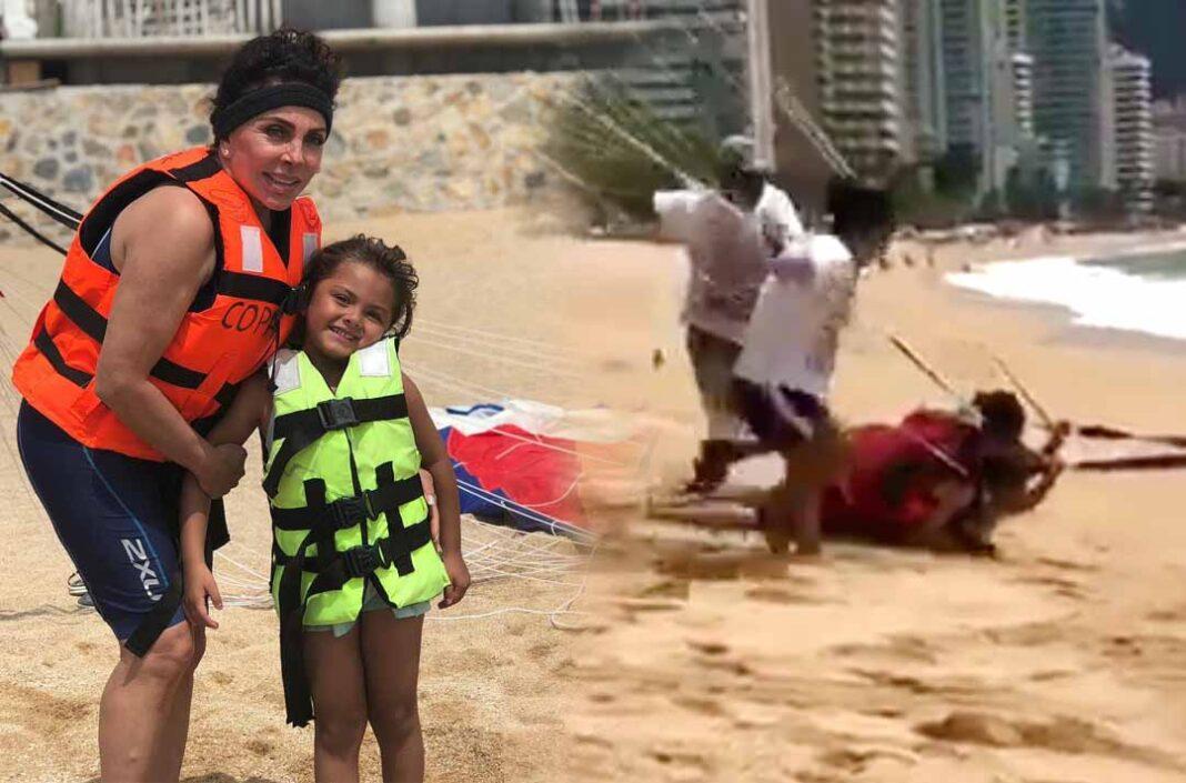 Verónica quiso darle a su nieta y terminaron siendo arrastradas por la arena
