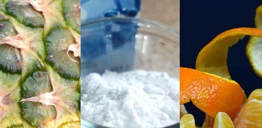 Bicarbonato de sodio y cáscara de mandarina y de piña