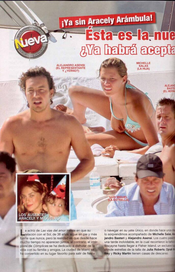 La revista Nueva cachó a Asensi con Michelle, Luis Miguel y su hermano Alejandro en el yate
