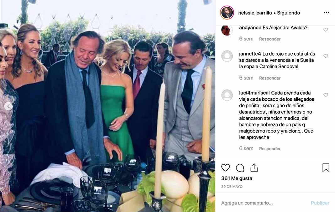 La más reciente aparición de Collado fue en la boda de su hija, al lado de Enrique Peña Nieto, su novia Tania y Julio Iglesias