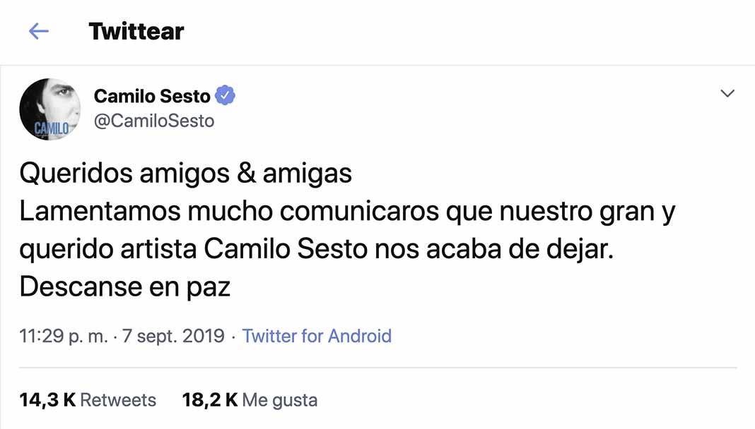 Amigos no puedo creer esta tristísima noticia sobre el fallecimiento de Camilo Sesto