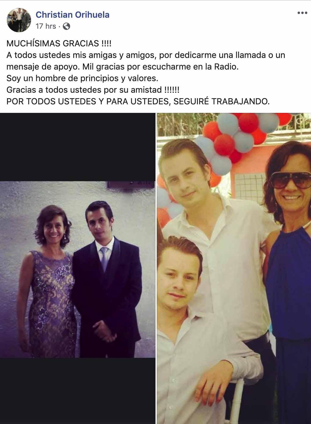 El mensaje de Christian Orihuela en Facebook