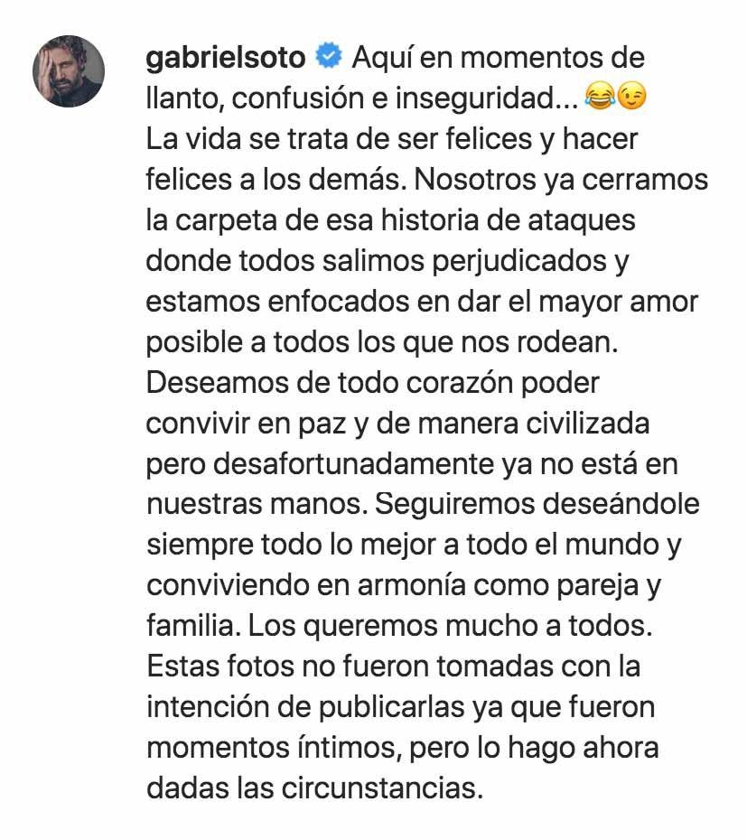 """Gabriel Soto hasta se rió de """"los momentos de llanto, confusión e inseguridad"""" que según Geraldine, viven sus hijas cuando están con Irina"""