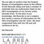 En su comunicado, la disquera dice que colaborará con la investigación del FBI en contra de Gerardo Ortíz