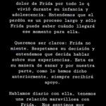 """""""Queremos ser claros, Frida no miente"""", dice parte del mensaje compartido por Beatriz, la madrastra de la joven cantante"""