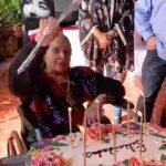 Las velas del pastel, decorado con una gran variedad de flores, fue apagado por la festejada con su abanico de mano